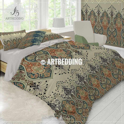 Ethno Indian bedding, Indie motifs tan duvet cover set, Traditional India boho paisley comforter set, bohemian bedroom decor Bedding set