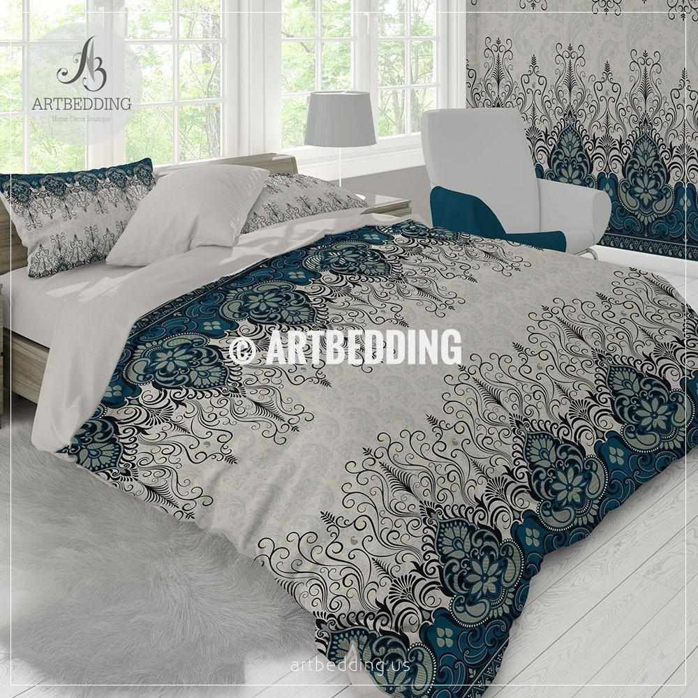 ... Ethno Indian Bedding, Indie Teal Blue And Tan Duvet Cover Set,  Traditional India Boho ...