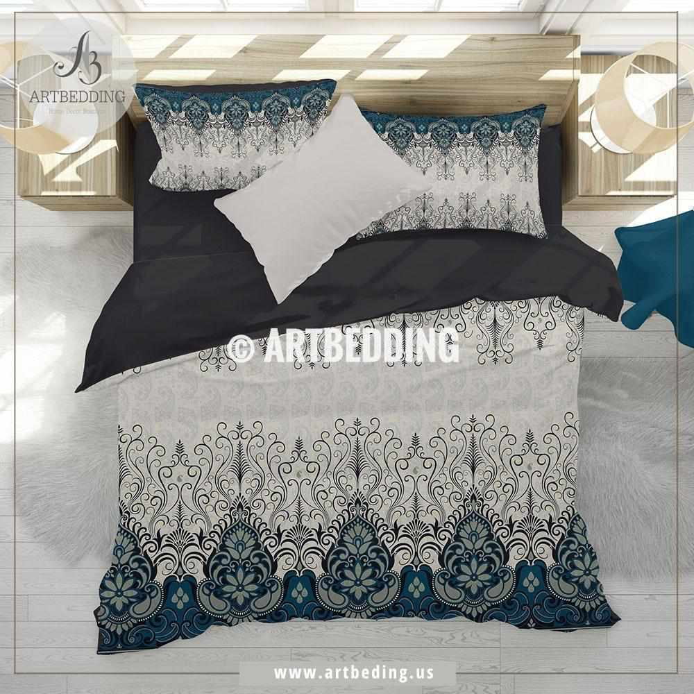 Ethno Indian bedding, Indie teal blue and tan duvet cover set, Traditional India boho paisley comforter set, bohemian bedroom decor Bedding set