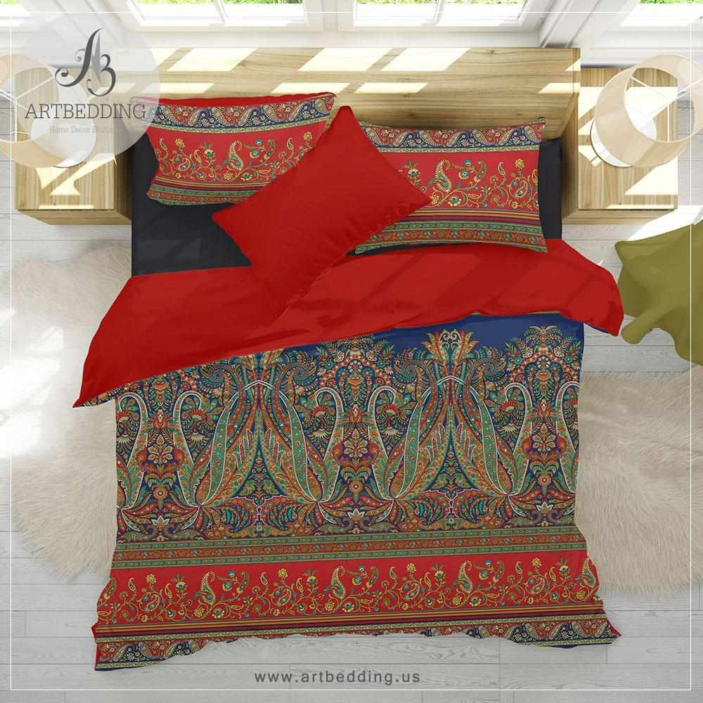 Ethno Indie boho bedding, Indie living coral and pink duvet cover set, Traditional India boho comforter set, boho bedroom decor Bedding set