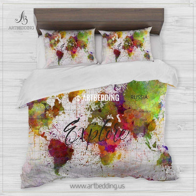Explore map bedding, Watercolor world map duvet cover set, Modern watercolor splash map comforter set Bedding set
