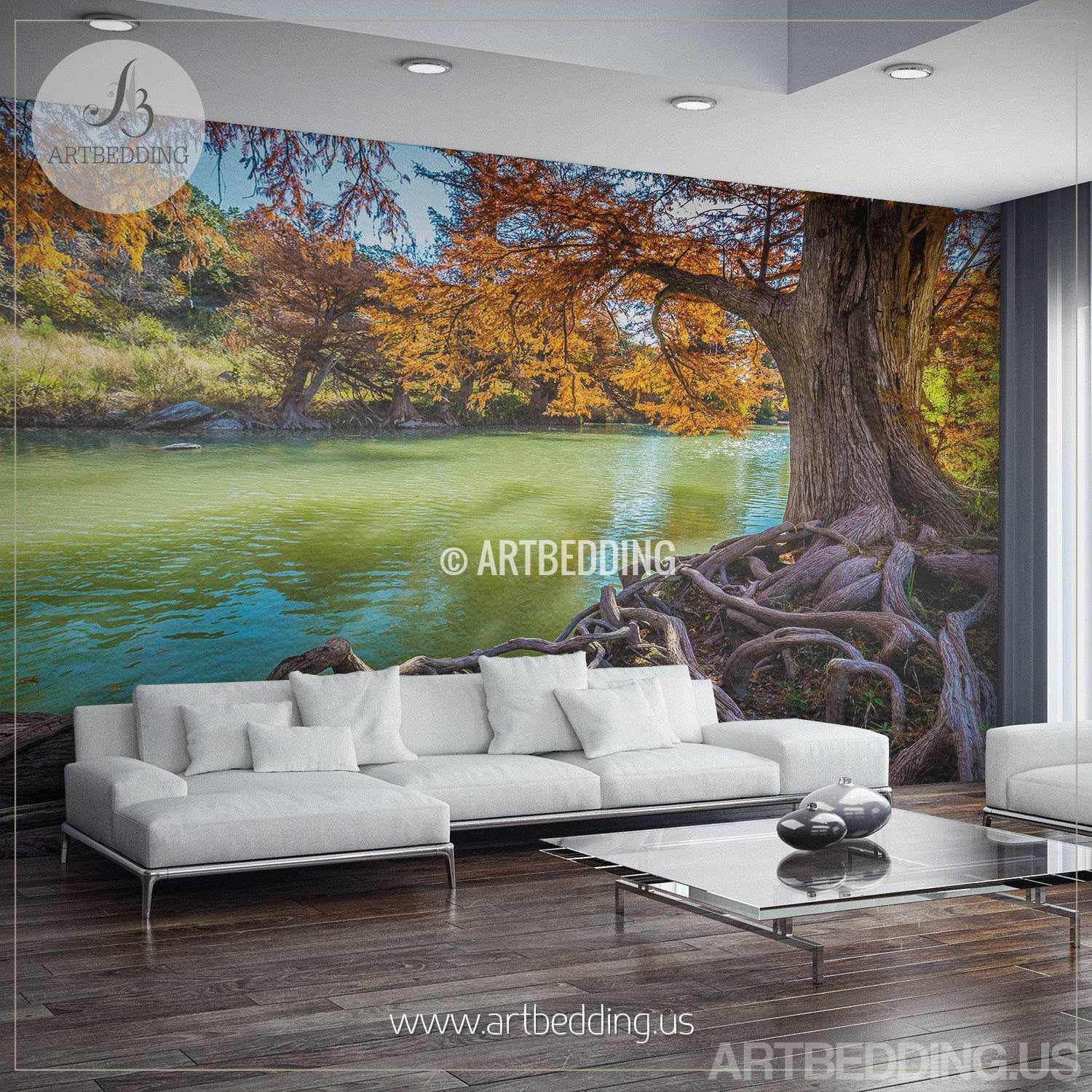 Fall river scene Wall Mural Tree river Self Adhesive Peel Stick