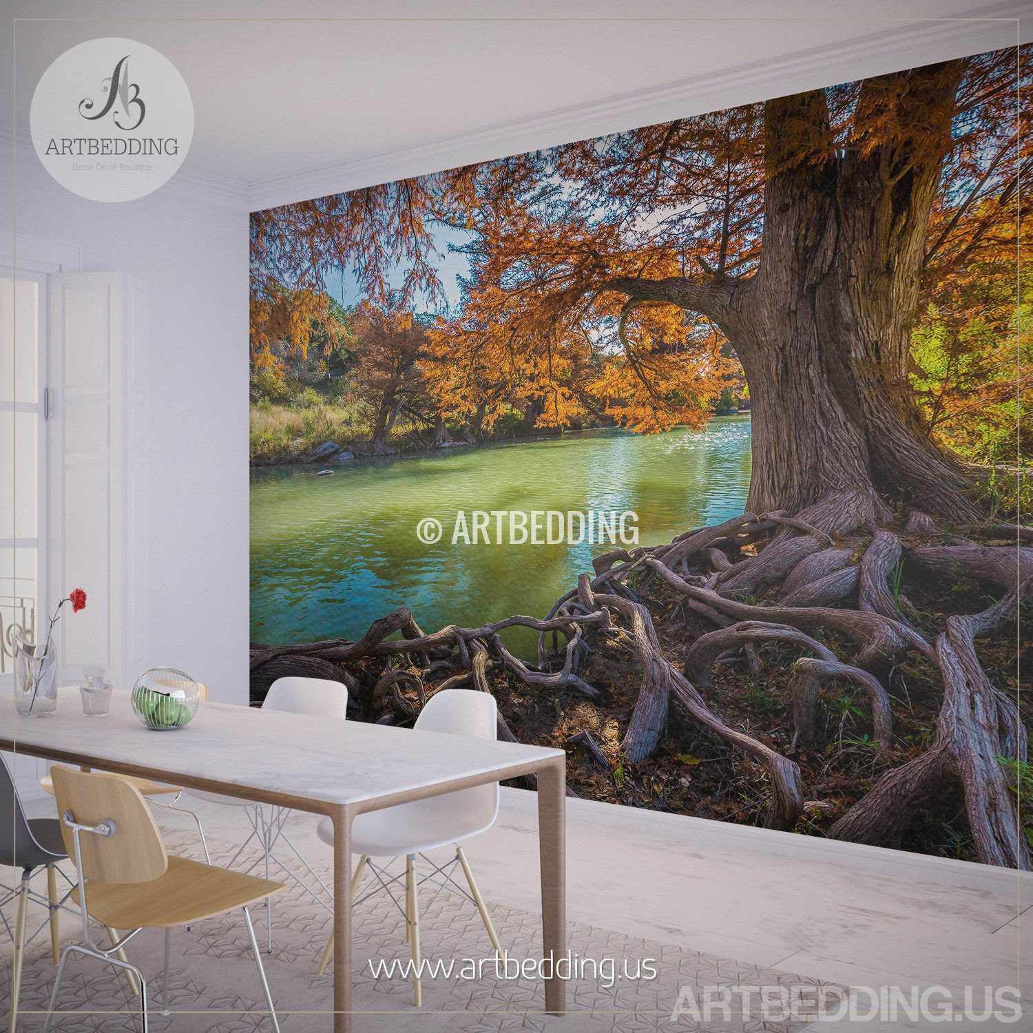 Wall murals wall tapestries canvas wall art wall for Autumn tree mural