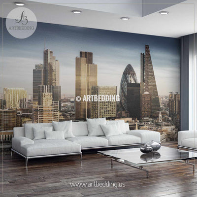 Famous skyscrapers in the business district - London, England Wall Mural, Photo Mural, wall décor wall mural