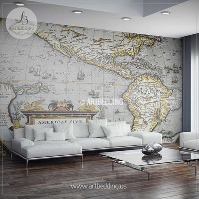 First Atlas of America in the World (1570) Wall Mural, Self Adhesive Peel & Stick Photo Mural, Atlas wall mural, mural home decor wall mural