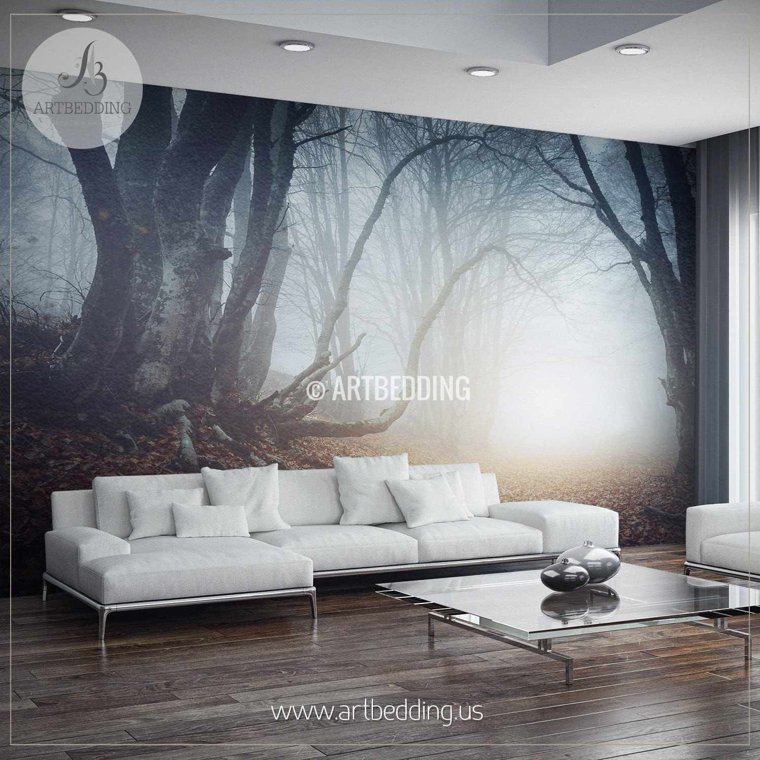 ... Foggy Mysterious Forest Self Adhesive Peel U0026 Stick, Nature Wall Mural  Wall Mural ... Part 61