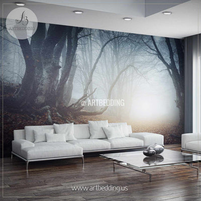 Foggy Mysterious Forest Self Adhesive Peel & Stick, Nature wall mural wall mural