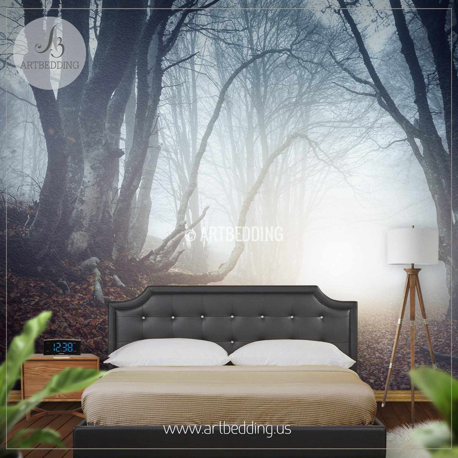 Foggy Mysterious Forest Self Adhesive Peel & Stick Nature wall