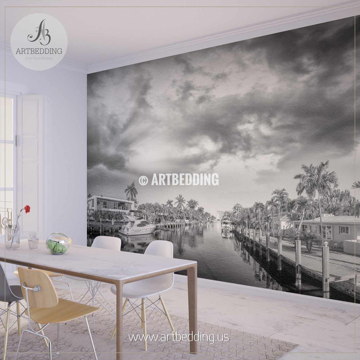 Fort Lauderdale at sunset, Florida Wall Mural, Landmarks Photo Mural, photo mural wall décor wall mural