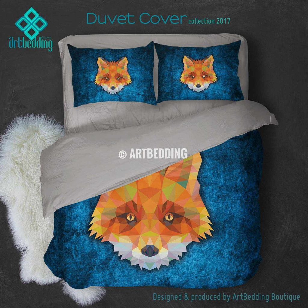Fox Animal head geometry Duvet cover, Fox Animal totem duvet cover, Fox head animal duvet, custom designer duvet artbedding