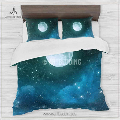 Full moon bedding set, Full moon over blue and green Nebula clouds with stars duvet bedding set, Space moon bedroom decor Bedding set