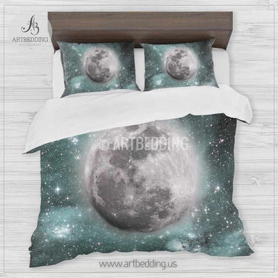 Full moon bedding set, Full moon over light green Nebula clouds with stars duvet bedding set, Space moon bedroom decor Bedding set