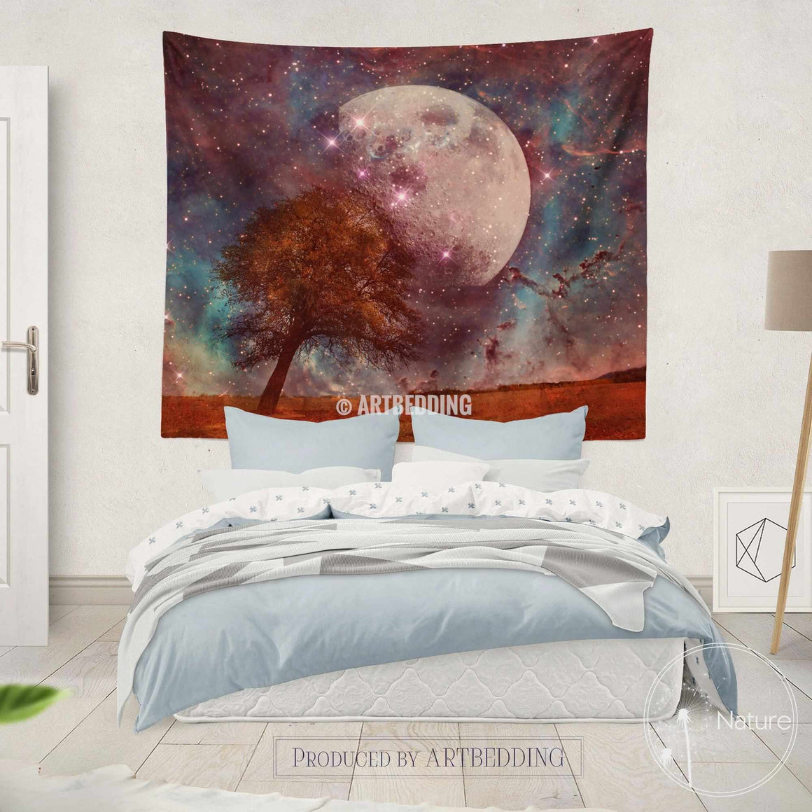 Full moon wall tapestry, moon and stars wall tapestries, fantasy moon wall hanging, moon wall decor, magical night sky nature wall decor, bohemian interior
