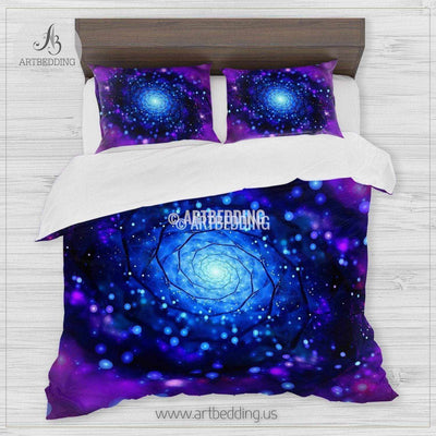 Galaxy bedding, Abstract vortex in deep space Bedding set, Galaxy print Duvet Cover, 3D galaxy bedding Bedding set