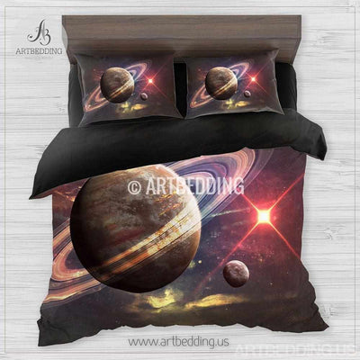 Galaxy bedding, Beautiful space Bedding set, Planet in space Galaxy Duvet cover set, Queen / King / Full / TWIN stars nebula Galaxy Duvet Cover, Universe bedding set, Cotton sateen bedding set Bedding set