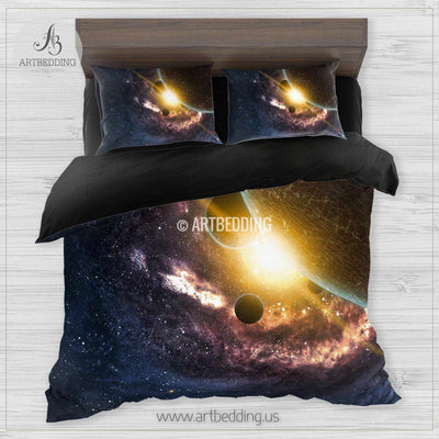 Galaxy bedding, Beautiful space Bedding set, Planets in space Galaxy Duvet cover set, Queen / King / Full / TWIN stars nebula Galaxy Duvet Cover, Universe bedding set, Cotton sateen bedding set Bedding set