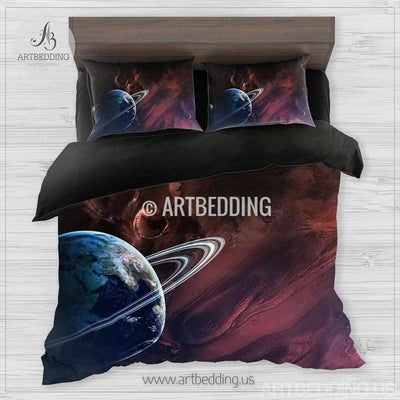 Galaxy bedding, Fantasy planet in space Bedding set, 3D print space Galaxy Duvet cover set, Galaxy Double Queen King Full TWIN stars nebula Quilt Cover Bedding set