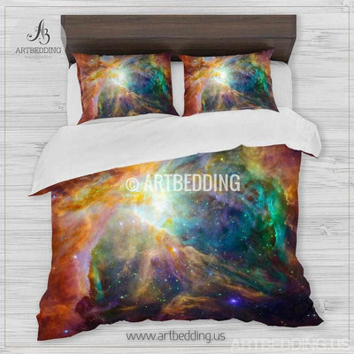 Galaxy bedding, Orion nebula in deep space Bedding set, stars nebula Duvet Cover set, Universe sateen bedding set Bedding set