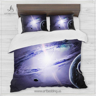 Galaxy bedding set, Artistic fantasy galaxy duvet cover set, Cosmos bedroom decor Bedding set