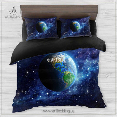Galaxy bedding set, Artistic view of Earth from space duvet cover set, Stars nebula Bedding set, Cosmos bedroom decor Bedding set
