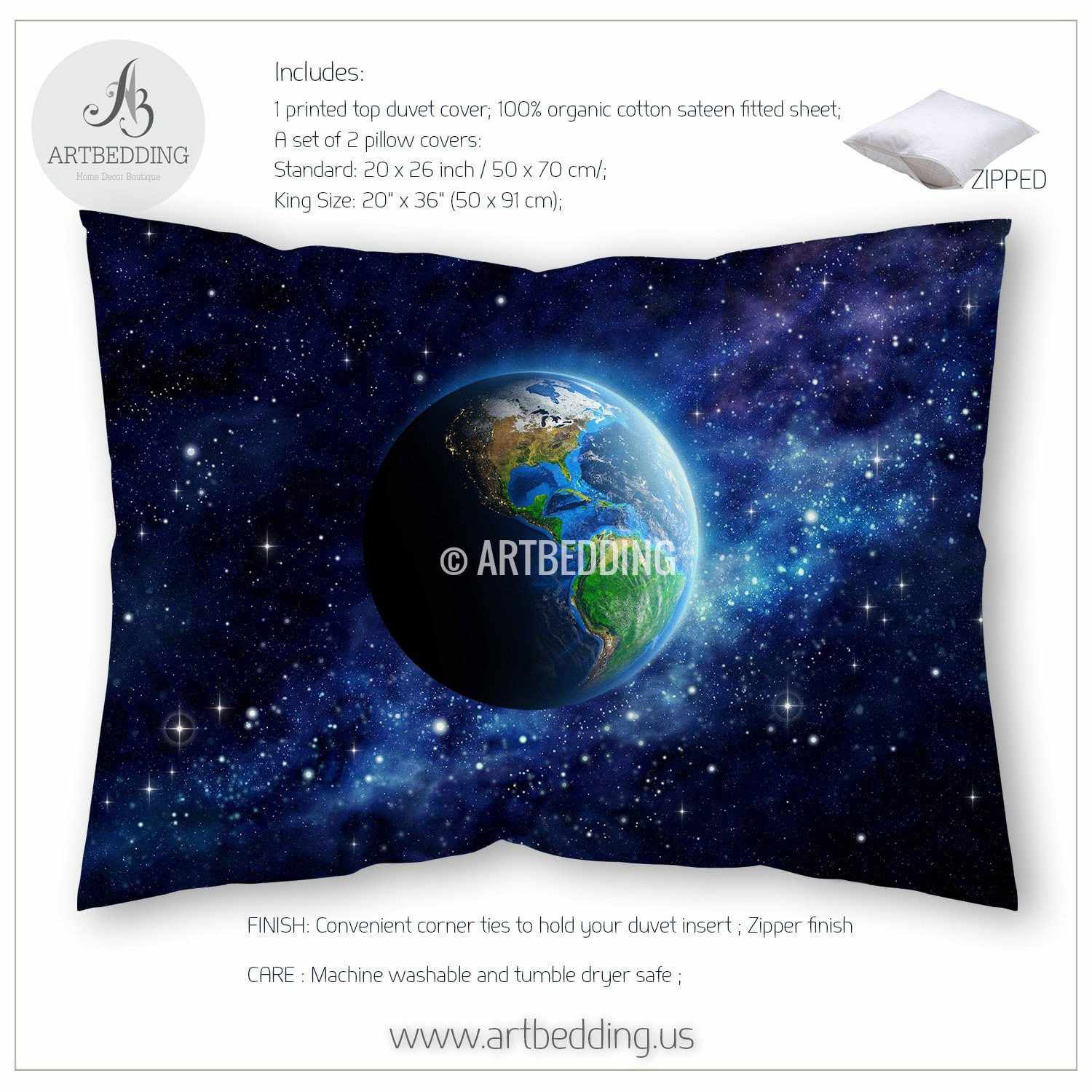 Galaxy bedding set, Earth from space duvet cover set, Stars nebula ...