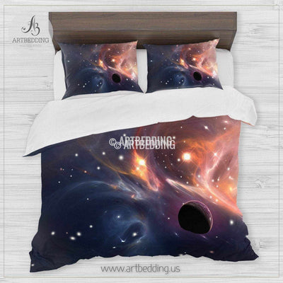 Galaxy bedding set, Beautiful artistic galaxy duvet cover set, Cosmos bedroom decor Bedding set