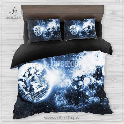 Galaxy bedding set, Blue planet in deep space duvet cover set, Blue nebula clouds Bedding set, Cosmos bedroom decor Bedding set