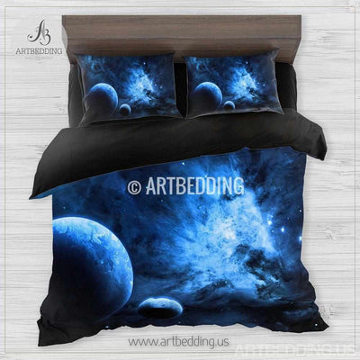 Galaxy bedding set, Blue planets in deep space duvet cover set, Stars nebula Bedding set, Cosmos bedroom decor Bedding set
