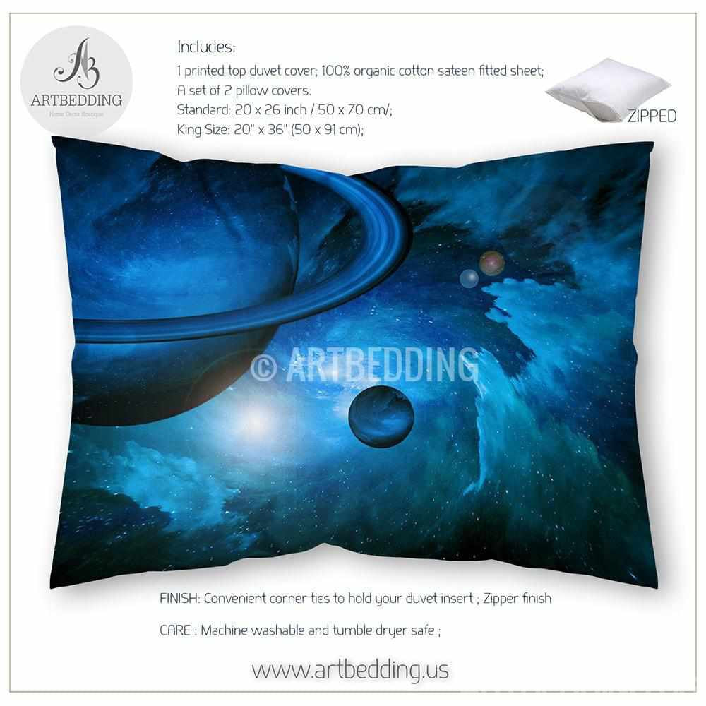 galaxy bedding set blue planets in space duvet cover set stars  - galaxy bedding set blue planets in space duvet cover set stars nebulabedding set