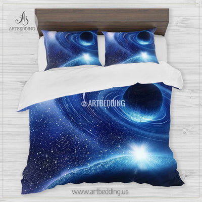 Galaxy bedding set, Blue planets in space duvet cover set, Stars nebula Bedding set, Cosmos bedroom decor Bedding set