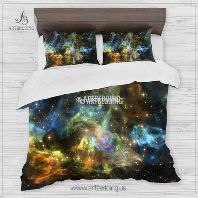 Galaxy bedding set, Colorful nebula clouds duvet bedding set, Space moon bedroom decor Bedding set