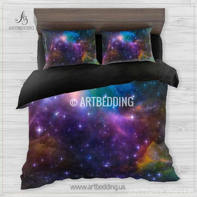 Galaxy bedding set, Cosmos duvet cover set, Abstract nebula in deep space Bedding set, stars nebula sateen bedding set Bedding set