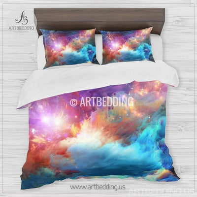 Galaxy bedding set, Cosmos duvet cover set, Fantasy nebula in deep space Bedding set, stars nebula sateen bedding set Bedding set
