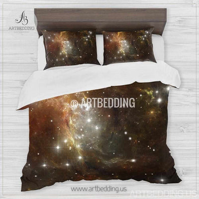 Galaxy bedding set, Cosmos duvet cover set, Gold nebula in deep space Bedding set, stars nebula sateen bedding set Bedding set