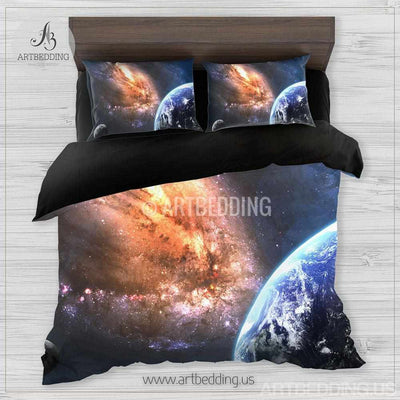 Galaxy bedding set, Earth from space duvet cover set, Space Bedding set, Universe bedroom decor Bedding set