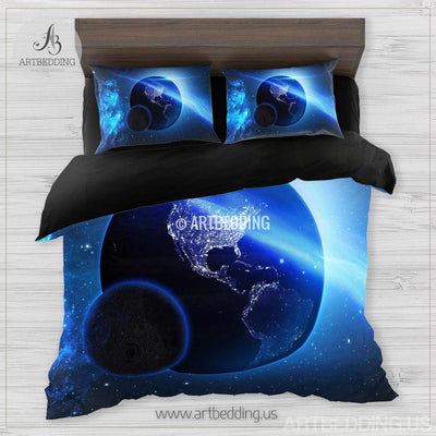 Galaxy bedding set, Earth from space duvet cover set, Stars nebula Bedding set, Cosmos bedroom decor Bedding set