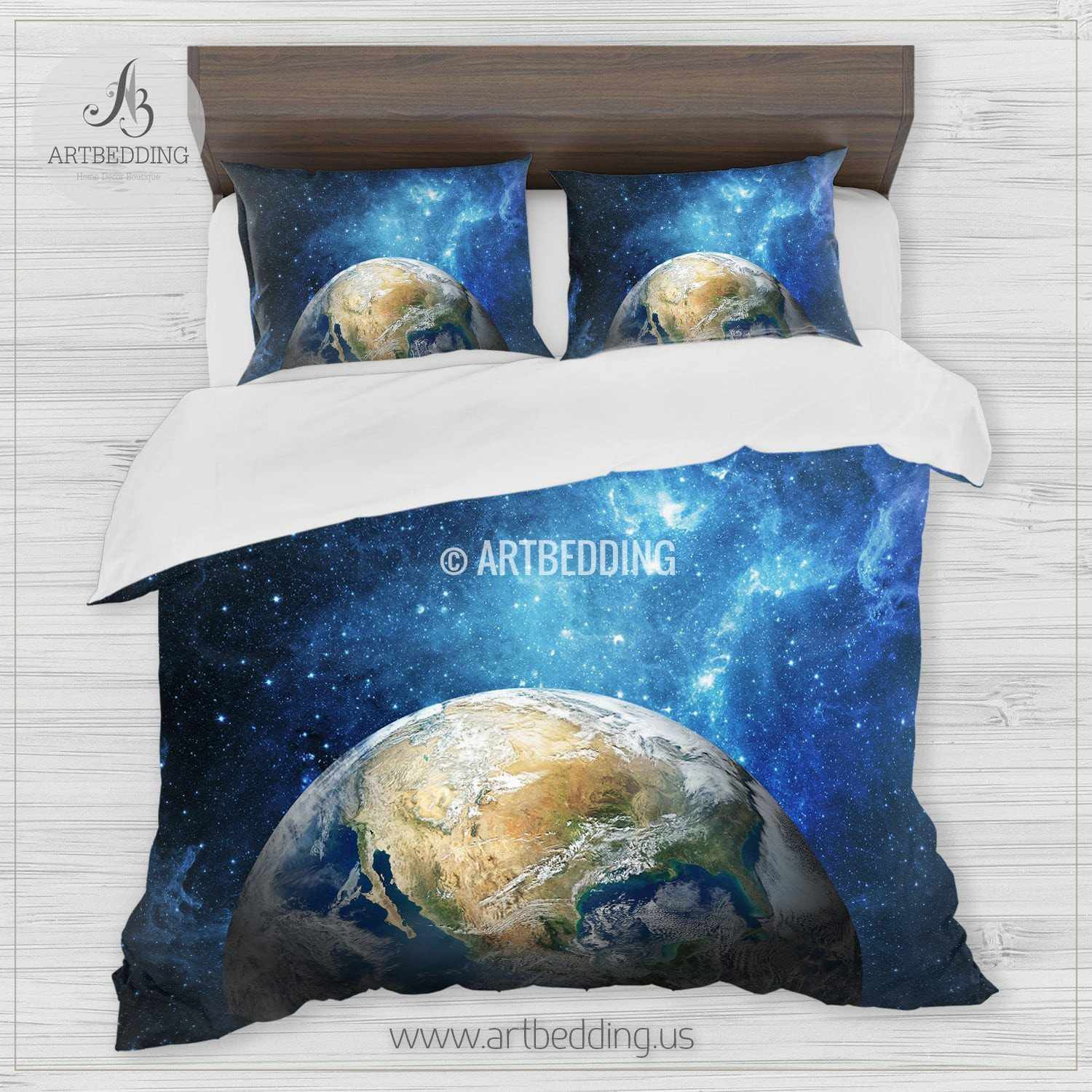 galaxy bedding set earth from space duvet cover set stars nebula bedding set - Galaxy Bedding Set