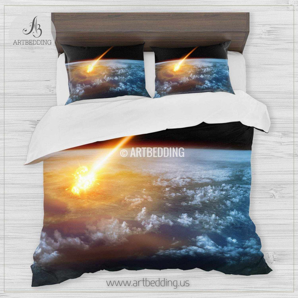 ... Galaxy Bedding Set, Fantasy Comet Hitting Earth Duvet Cover Set, Cosmos Bedroom  Decor Bedding ...