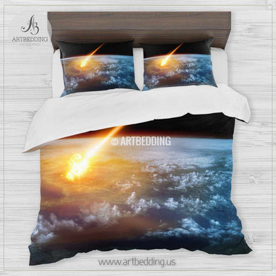 Galaxy bedding set, Fantasy comet hitting Earth duvet cover set, Cosmos bedroom decor Bedding set