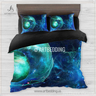 Galaxy bedding set, Green nebula fantasy planet duvet cover set, Stars nebula Bedding set, Space bedroom decor Bedding set