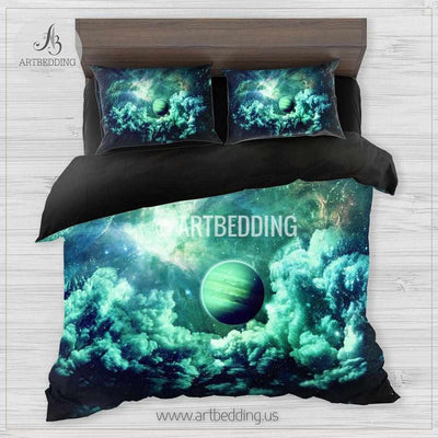 Galaxy bedding set, Green planets in deep space duvet cover set, Green nebula clouds Bedding set, Cosmos bedroom decor Bedding set