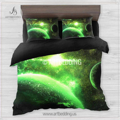 Galaxy bedding set, Green planets in deep space duvet cover set, Stars nebula Bedding set, Cosmos bedroom decor Bedding set