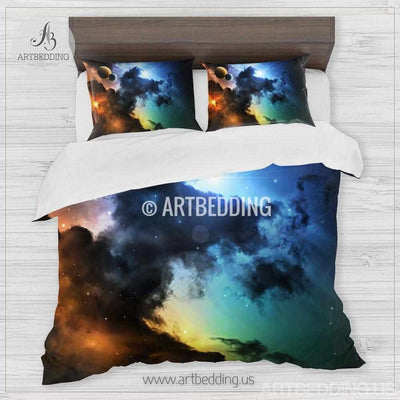 Galaxy bedding set, multicolor space duvet cover set, Stars clouds nebula Bedding set, Cosmos bedroom decor Bedding set