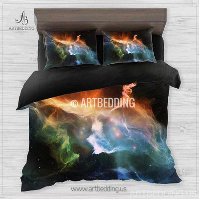 Galaxy bedding set, multicolor space duvet cover set, Stars nebula Bedding set, Cosmos bedroom decor Bedding set