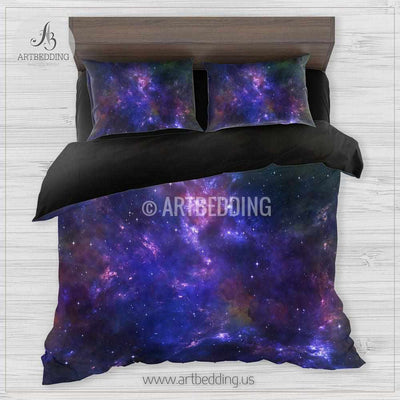 Galaxy bedding set, Nebula clouds duvet cover set, Stars nebula Bedding set, Space bedroom decor Bedding set