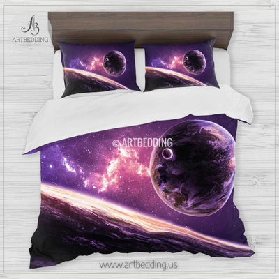 Galaxy bedding set, Planets over the nebulae duvet cover set, Stars nebula Bedding set, Cosmos bedroom decor Bedding set