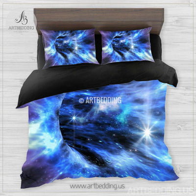 Galaxy bedding set, Space duvet cover set, Abstract black hole galaxy Bedding set, stars nebula sateen bedding set Bedding set