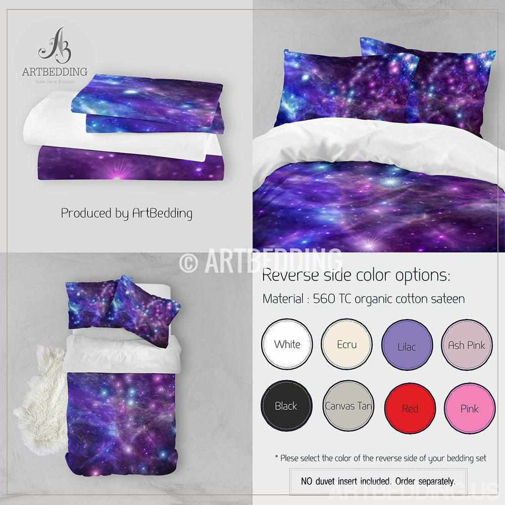 Galaxy bedding set, Space duvet cover set, Deep space nebula Bedding set, stars sateen bedding set Bedding set