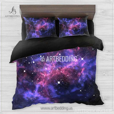 Galaxy bedding set, space duvet cover set, Stars nebula Bedding set, Cosmos bedroom decor Bedding set