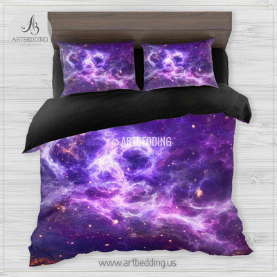 Galaxy bedding set, space duvet cover set, Stars purple nebula Bedding set, Cosmos bedroom decor Bedding set